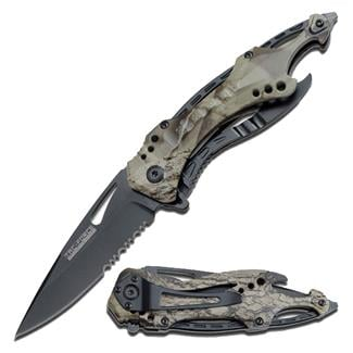 Tac-Force Speedster Spring Assisted Folder Knife Serrated Edge Gray Camo / Black