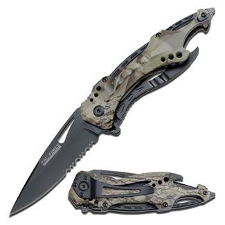 Tac-Force Speedster Spring Assisted Folder Knife Serrated Edge Gray Camo / Black