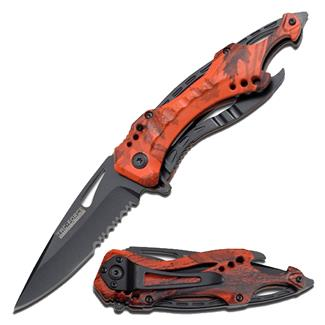 Tac-Force Speedster Spring Assisted Folder Knife Red Camo / Black Serrated Edge