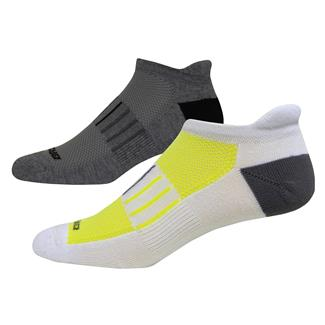 Brooks Essential Low Cut Tab Lite Socks (2 pack) White with Yellow / Carbon Accents