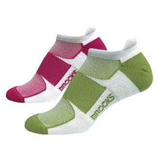 Brooks Essential Low Cut Tab Socks (2 pack) White / Avocado / Pomergranate