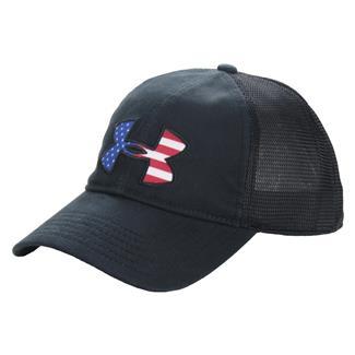 Under Armour Big Flag Logo Mesh Hat Black / White