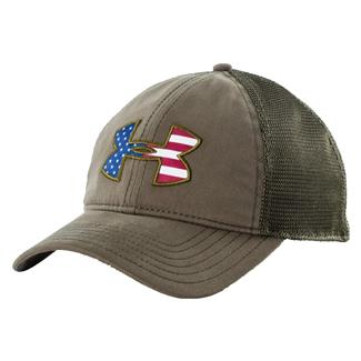Under Armour Big Flag Logo Mesh Hat Marine OD Green White