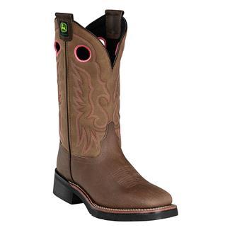 """John Deere 11"""" Western Broad Pull-On ST Dark Khaki / Saddle Tan"""