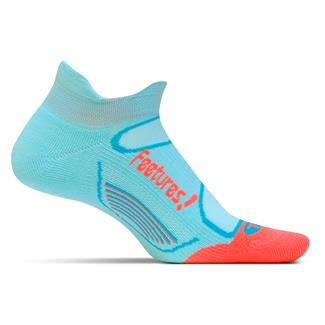 Feetures Elite Light Cushion No Show Tab Socks Aruba Blue / Coral