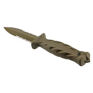 Gerber De Facto Fixed Blade Knife Serrated Edge Tan