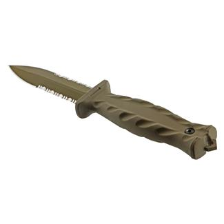 Gerber De Facto Fixed Blade Knife Tan Serrated Edge