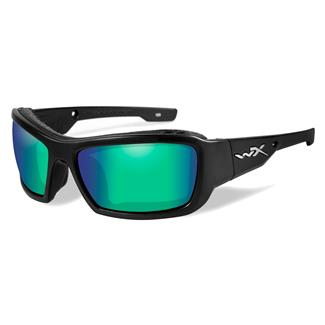 Wiley X Knife Matte Black Polarized Emerald Mirror (Amber)