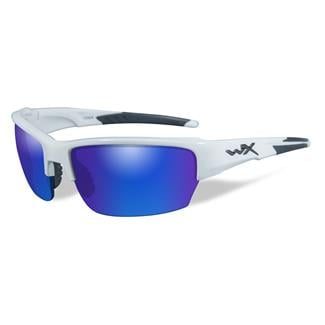 Wiley X Saint Gloss White 1 Lens Polarized Blue Mirror (Green)
