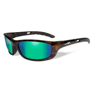 Wiley X P-17 Gloss Demi (frame) - Polarized Emerald Mirror (Amber) (lens)