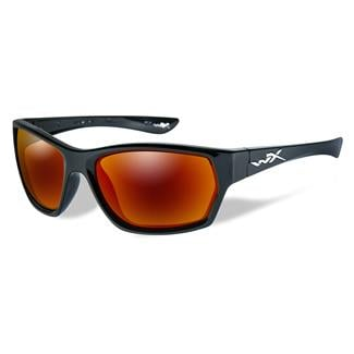 Wiley X Moxy Gloss Black (frame) - Polarized Crimson Mirror (Gray) (lens)
