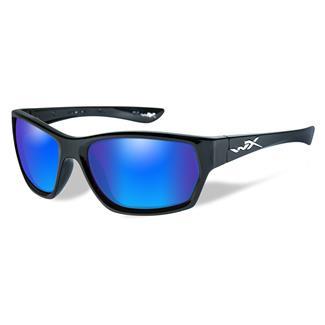 Wiley X Moxy Polarized Blue Mirror (Green) Gloss Black