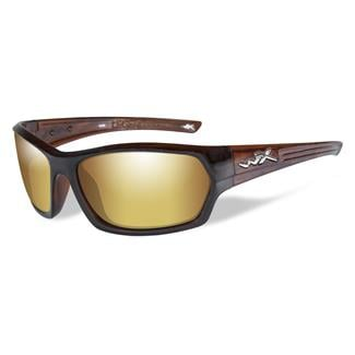 Wiley X Legend Gloss Hickory Brown Polarized Venice Gold Mirror (Amber)