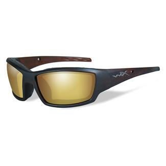 Wiley X Tide Matte Hickory Brown (frame) - Polarized Venice Gold Mirror (Amber) (lens)