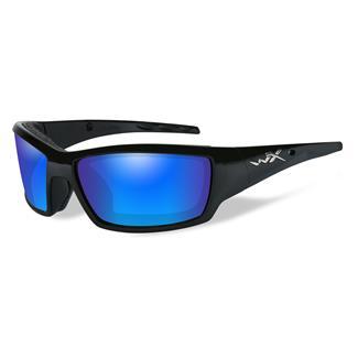 Wiley X Tide Gloss Black Polarized Blue Mirror (Green)