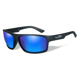 Wiley X Peak Matte Black Polarized Blue Mirror (Green)