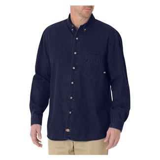 Dickies Relaxed Fit Denim Work Shirt Rinsed Indigo Blue