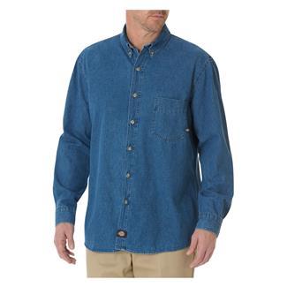 Dickies Relaxed Fit Denim Work Shirt Stonewashed Indigo Blue