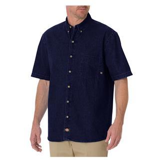 Dickies Relaxed Fit Short Sleeve Denim Work Shirt Rinsed Indigo Blue