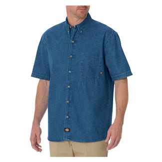 Dickies Relaxed Fit Short Sleeve Denim Work Shirt Stonewashed Indigo Blue