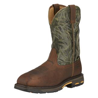 "Ariat 11"" Workhog Met Guard Wide Square Toe CT Ridge Brown / Moss Green"