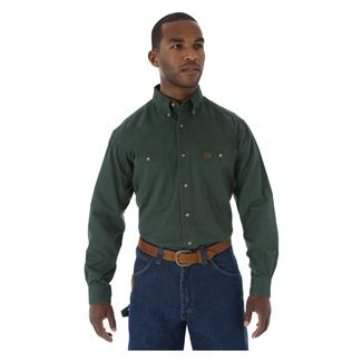 Wrangler Riggs Relaxed Fit Twill Work Shirt Forest Green