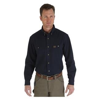 Wrangler Riggs Relaxed Fit Twill Work Shirt Navy