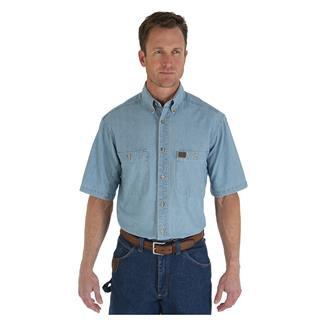 Wrangler Riggs Short Sleeve Relaxed Fit Chambray Work Shirt Light Blue