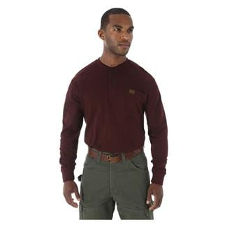 Wrangler Riggs Long Sleeve Pocket Henley Burgundy