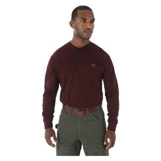 Wrangler Riggs Long Sleeve Pocket Henley Burgundy