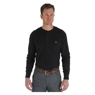 Wrangler Riggs Long Sleeve Pocket Henley Black