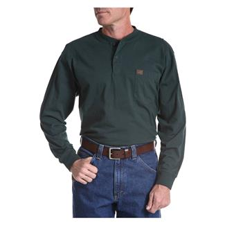 Wrangler Riggs Long Sleeve Pocket Henley Forest Green