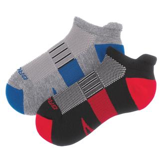 Brooks Ghost Midweight Tab Socks (2 pack) Black / Red & Heather Gray / Marathon