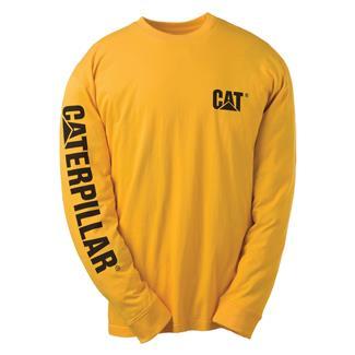CAT Long Sleeve Trademark Banner T-Shirt Yellow