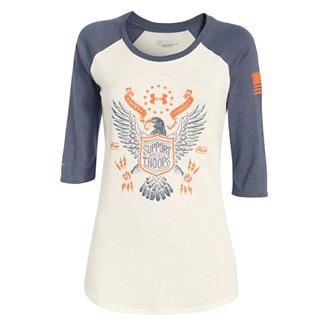 Under Armour HeatGear Freedom Eagle 3/4 T-Shirt Ivory / Mechanic / Cyber Orange