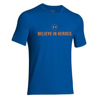 Under Armour HeatGear Believe in Heroes T-Shirt Superior Blue / Blaze Orange