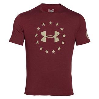 Under Armour HeatGear Freedom T-Shirt Deep Red / Desert Sand
