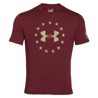 Under Armour HeatGear Freedom T-Shirt Deep Red / Desert Sand