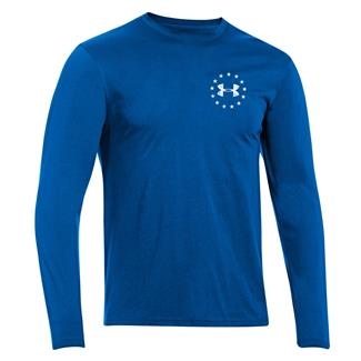Under Armour HeatGear Long Sleeve WWP Freedom Flag T-Shirt Superior Blue / White