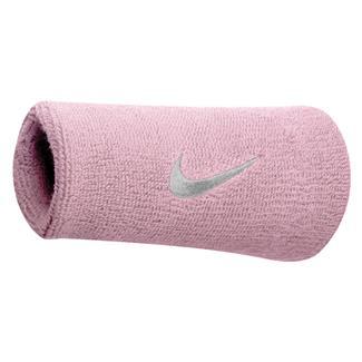 NIKE Swoosh Doublewide Wristband (2 pack) Perfect Pink / White