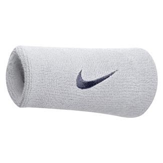 NIKE Swoosh Doublewide Wristband (2 pack) White / Obsidian
