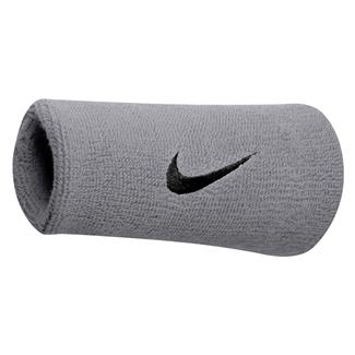 NIKE Swoosh Doublewide Wristband (2 pack) Matte Silver / Black