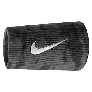 NIKE Dri-FIT Camo Doublewide Wristband (2 pack) Black / Tumbled Gray / White