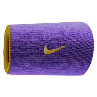 NIKE Dri-FIT Home & Away Doublewide Wristband (2 pack) Court Purple / University Gold