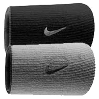 NIKE Dri-FIT Home & Away Doublewide Wristband (2 pack) Black / Base Gray