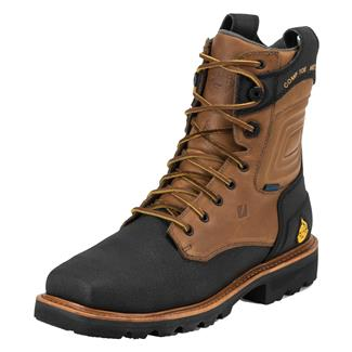 "Justin Original Work Boots 8"" WorkTek FRac'er Square Toe Met Guard CT WP FR Black / TecTuff Leather"