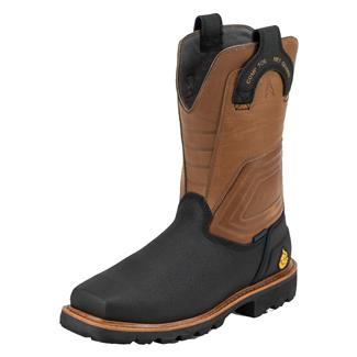 "Justin Original Work Boots 11"" WorkTek FRac'er Square Toe Met Guard CT WP FR Black / TecTuff Leather"