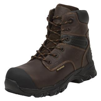 "Justin Original Work Boots 6"" WorkTek Sabre Round Toe CT WP Brawny Brown"