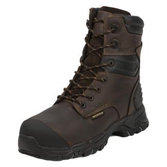 "Justin Original Work Boots 8"" WorkTek Sabre Round Toe CT WP Brawny Brown"