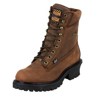 "Justin Original Work Boots 8"" Worker II Logger GTX ST Mahogany Harness"